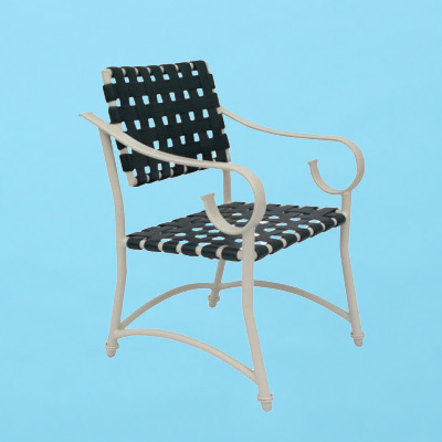 Sierra Line Weaved Strap Chair With Arms Patio Furniture