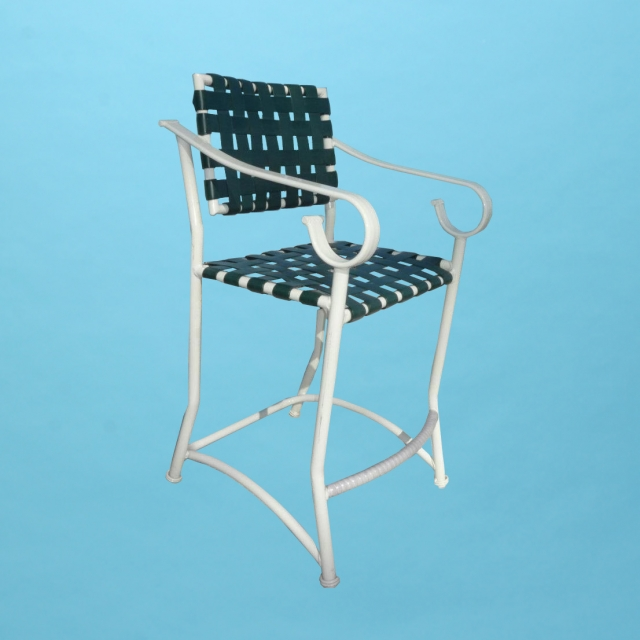 Sierra line weaved strap bar stool with arms