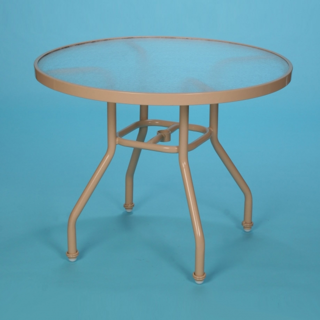 "S-48A 48"" round acrylic dining table with hole"