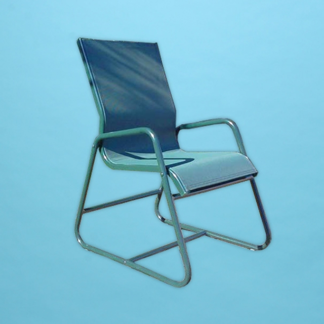 C-55SL classic sling line sled based dining chair with round arm