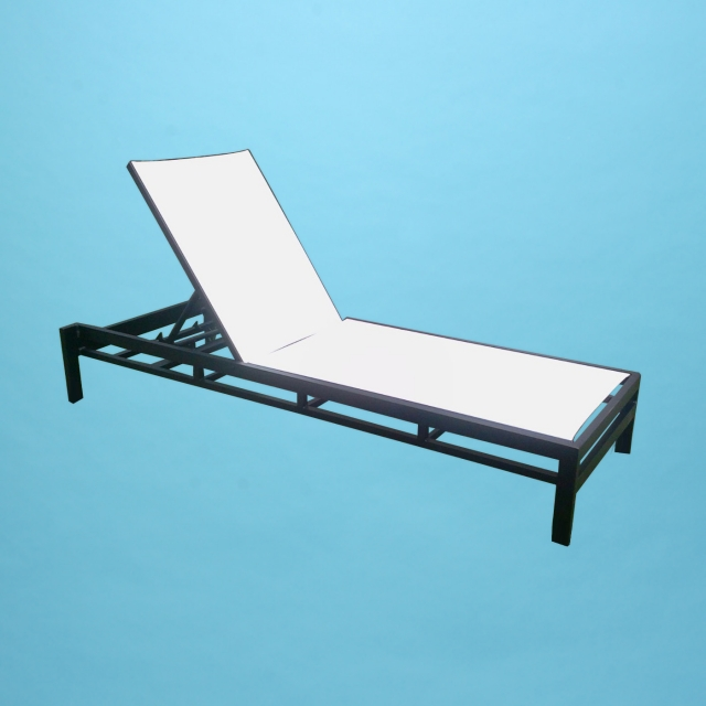 "D line sling chaise lounge, 16"" tall, no arms"