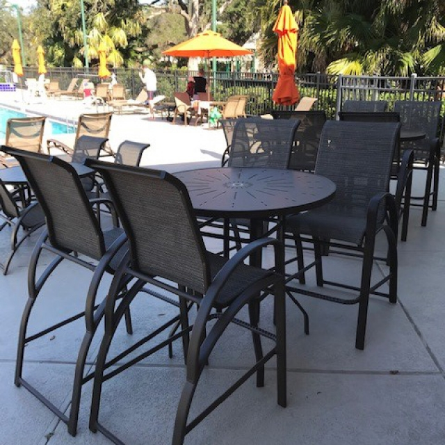 "E Line 48""  round bar table with fiberglass top"