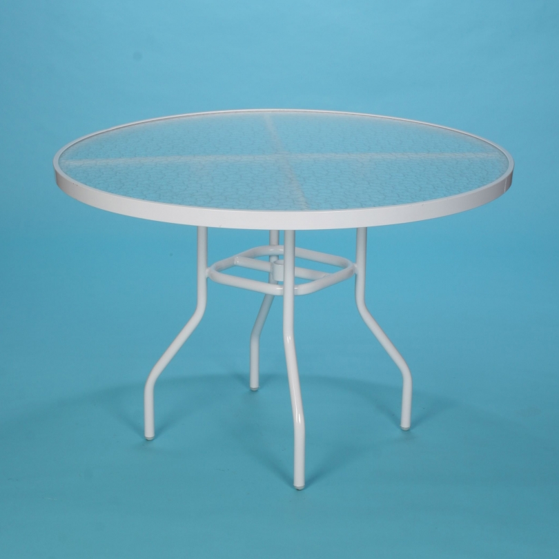 "42"" round acrylic top dining table with hole and spider"