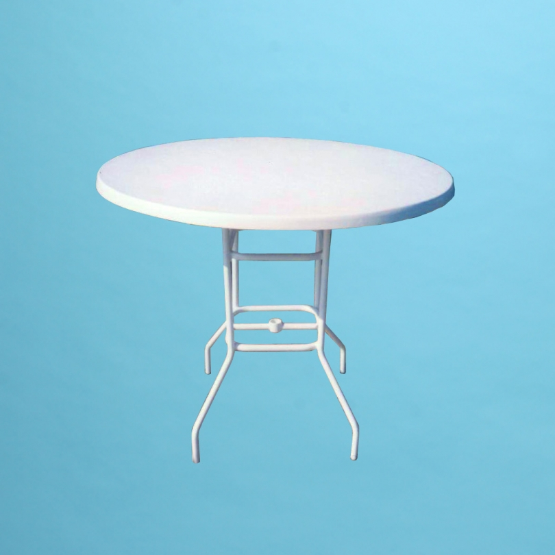 "30"" round fiberglass top bar height table with or without hole"