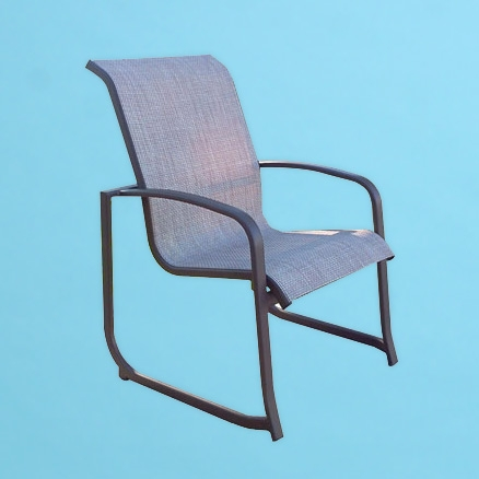 I 59 Line Sling Sled Base Chair With Flat Arms Patio