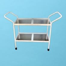 Aluminum tea cart with wheels and acrylic shelves