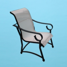 Sierra S-50 sling line dining chair with flat arms